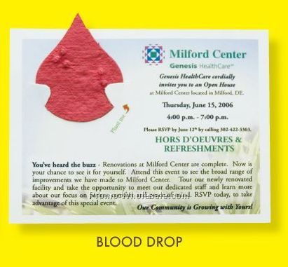 Floral Seed Paper Pop-out Post Card - Blood Drop