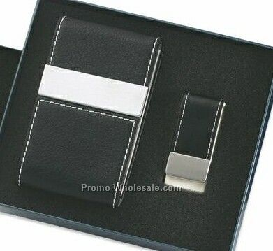 Leatherette Metal Card Case With Double Magnetic Flap & Money Clip - Black