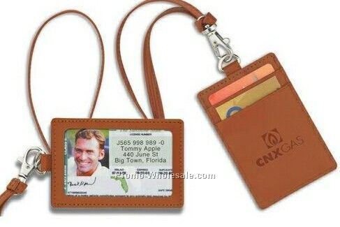 Park Avenue Leather Id Holder With Neck Cord