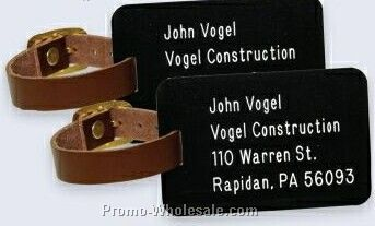 Set Of 2 Luggage Tags With Leather Straps