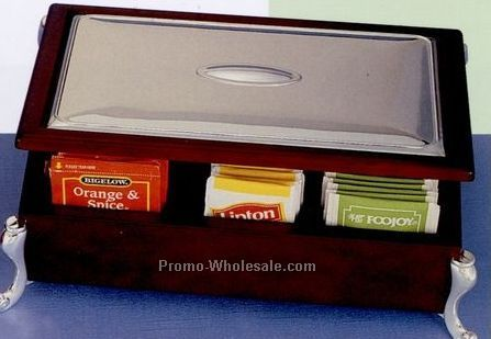 Silver Plated Wooden Tea Bag Chest