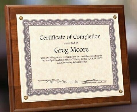 "Simulated Walnut Certificate Holder W/ Plexiglass Overlay - 8""x10"""