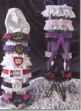 Single Bottom Laced Leg Garter W/Imprint Ribbon & Rosette - 1 Color