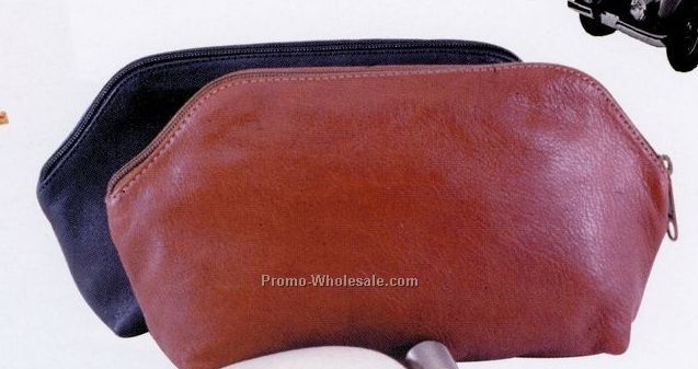 Soft Leather Zippered Pouch W/ Unlined Natural Suede Interior (Full Grain)