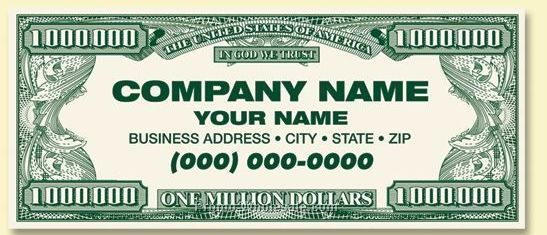Standard Front/Custom Back Million Dollar Business Card