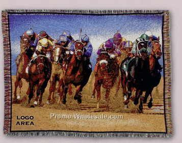 "Tapestry Stock Woven Throws - Race Horse (53""x67"")"