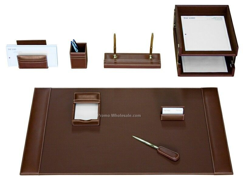 10-piece Rustic Leather Desk Set - Brown
