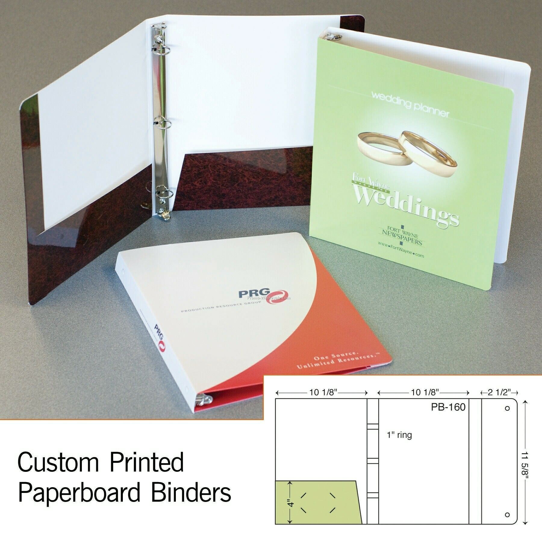 "11-5/8""x9-5/8"" Laminated 3-ring Binder W/ 1 Pocket & Flap (Stamp/Emboss)"