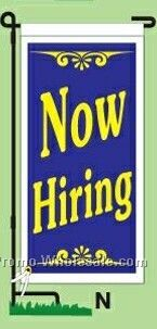 "14""wx30""h Stock Ground Banner & Frame - Now Hiring"