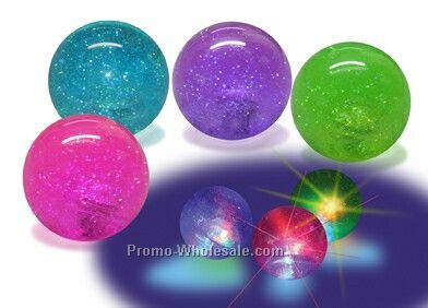 "2-1/4"" Hi-bounce Light Up Glitter Water Ball"