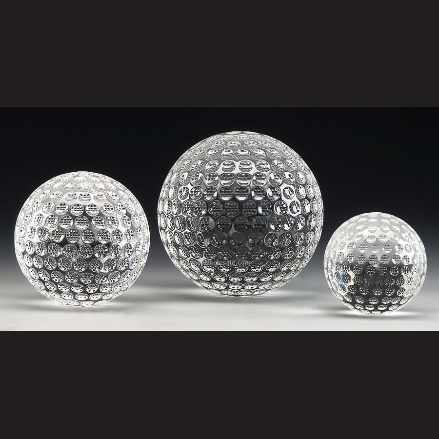 "3-1/8"" Optical Crystal Golf Ball W/ Etch Space"