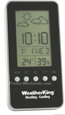 "4-3/4""x2-3/8""x5/8"" Digital Weather Station With Alarm Clock"