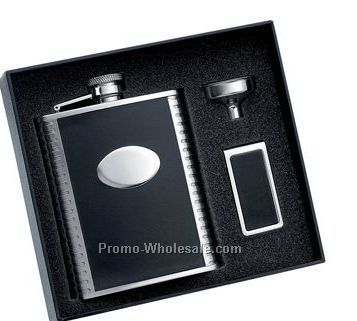 6 Oz Black Bonded Leather Stainless Steel Flask W/Pattern On Both Sides And