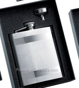 8 Oz Stainless Steel Flask With 2 Horizontal Stripes And Silver Funnel In B
