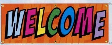 8'x3' Stock Abstract Banners - Welcome
