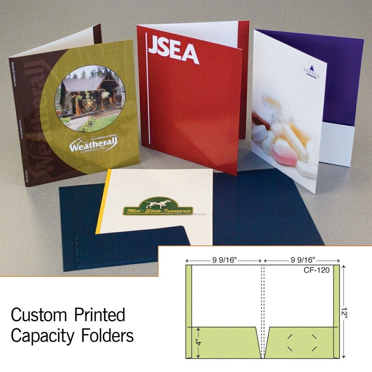 "9-9/16""x12"" Capacity Folder W/ 2 Reinforced Pockets & 1/2"" Spine (1 Color)"