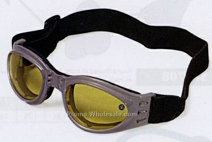 Children's Gray Goggles W/ Shock Absorbent Guard & Yellow Lenses