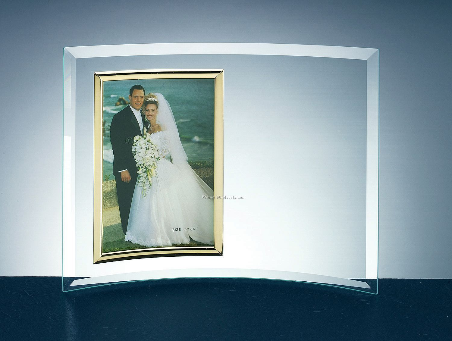 "Curved Jade Glass Frame (3-1/2""x5"" Photo)"