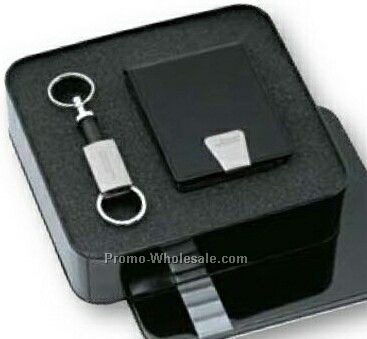 Ensemble Separating Keyring With Pen/ Business Card Case Gift Set