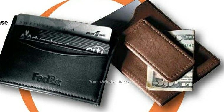 Florentine Napa Leather Magnetic Money Clip/Card Case