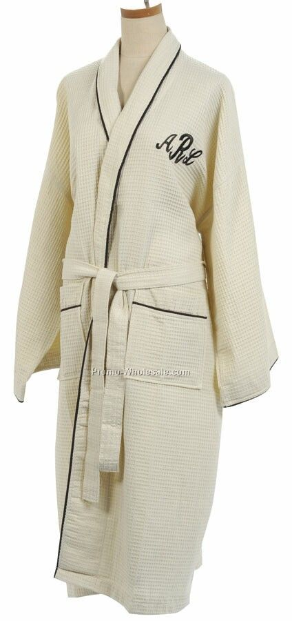 Honeycomb Robe W/ Brown Piping (Embroidered)