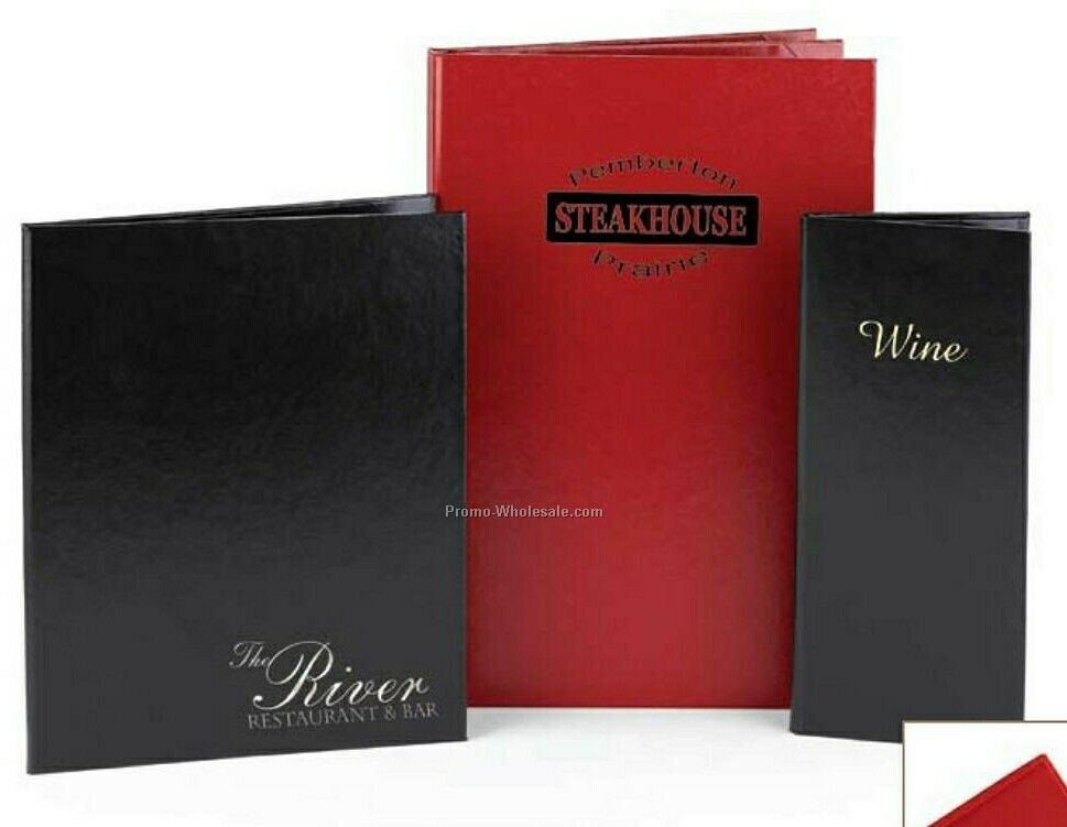 "Leathergrain Menu Cover W/ Vicuna Finish 2 View (4-1/4""x11"")"