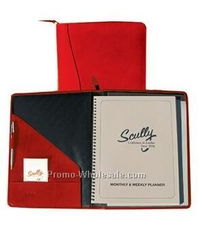 Plum Italian Leather Zip Planner & Letter Pad