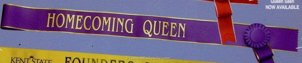 "Queen Sash W/ Gold Edge (72""x3"")"