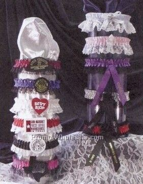 Single Bottom Laced Leg Garter W/Imprint Ribbon - 2 Color