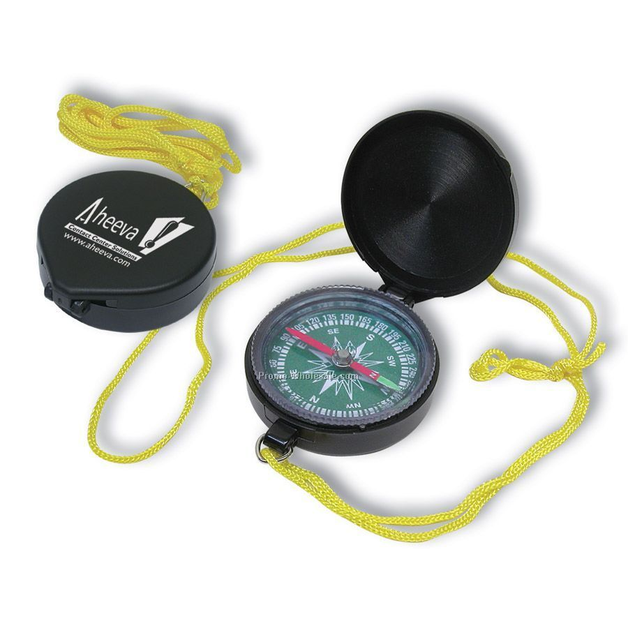 "1-1/2""x1-7/8"" Magnetic Compass With Nylon Lanyard"