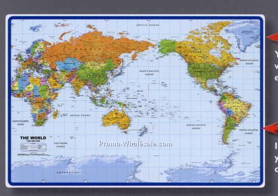 Inquiry 25 12x17 world map desk pad with pacific centered product name 25 12x17 world map desk pad with pacific centered gumiabroncs Image collections