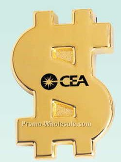 "3-1/4""x2-1/4""x5/8"" Gold Plated Money Sign Paper Weight (Screened)"