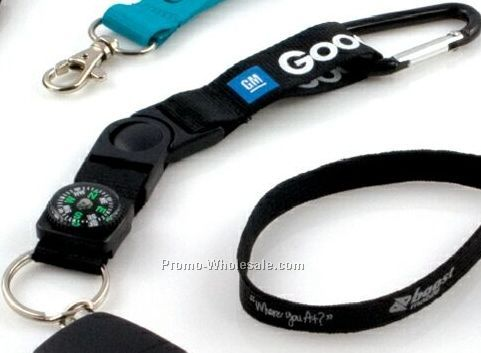 "3/4"" Keychain Carabiner With Compass & 50 Day Shipping"