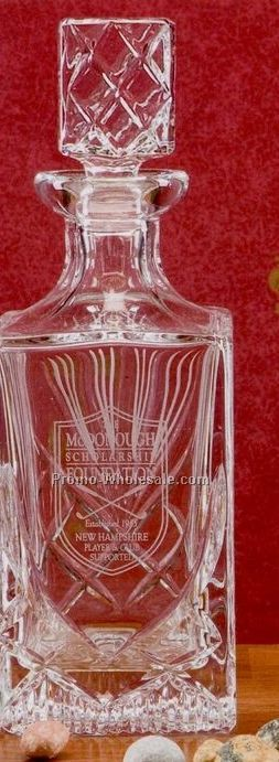 32 Oz. Hand Cut Crystal Square Decanter