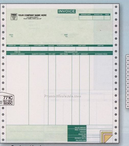 4 Part Parchment Invoice W/ 7 Columns (Classic Accounting)