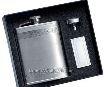 6 Oz Stainless Steel Flask W/Wide Decorative Stripes And Matching Money Cli