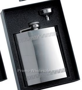 6 Oz Stainless Steel Flask With 2 Horizontal Decorative Stripes And Silver