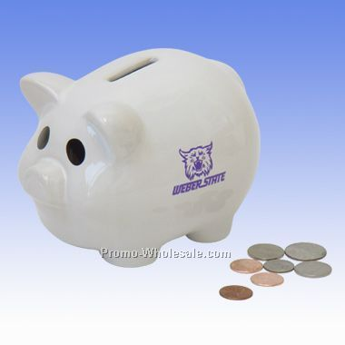 "6""x4""x4-1/4"" Piggy Bank - In White"