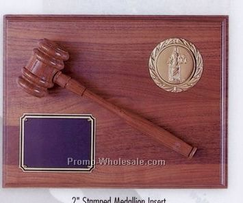 "9""x12"" Walnut Finish 2"" Stamped Medallion Insert Gavel Plaque"