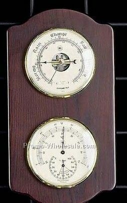 Brass Clock/Barometer/Thermometer On Ash Wood Base