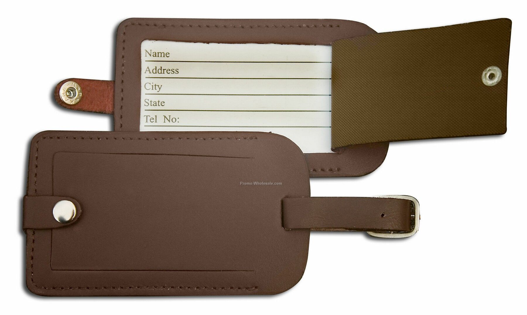 Classic Leather Luggage Tag - Chocolate Brown