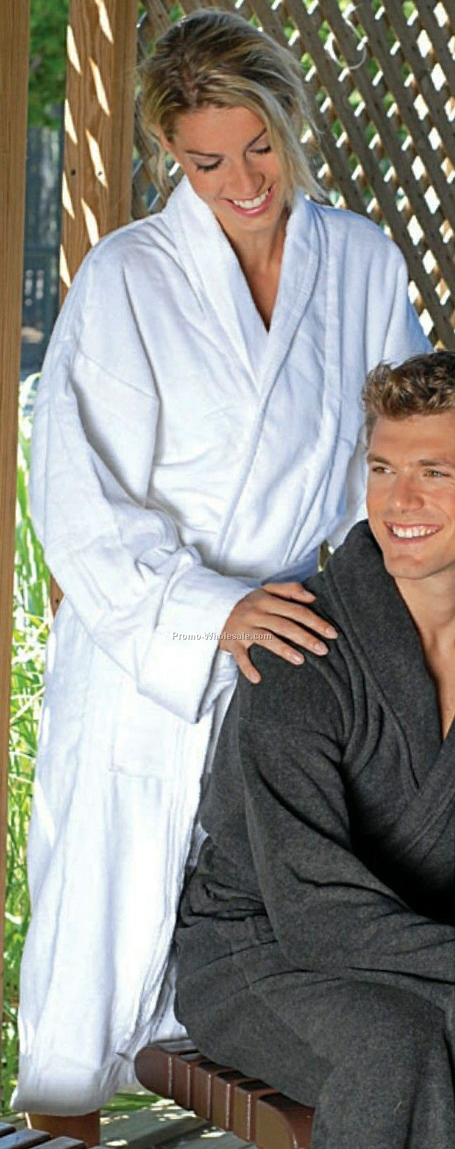 Classic Shawl Collar Terry Velour Bathrobe (S/M-l/Xl White) Embroidered