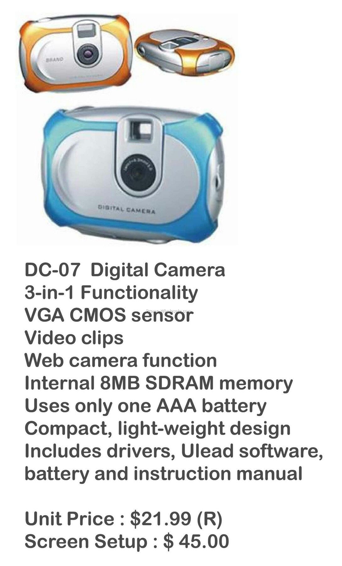 Digital Camera, Video Camera, Web Cam, Stores Photos, 8mb Memory