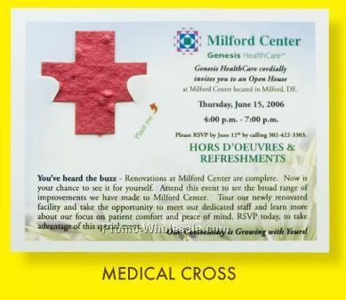 Floral Seed Paper Pop-out Post Card - Medical Cross