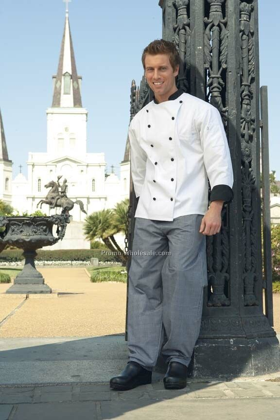 Le Grand Chef Coat (White W/Black Trim) & Buttons (Xs-6xl)