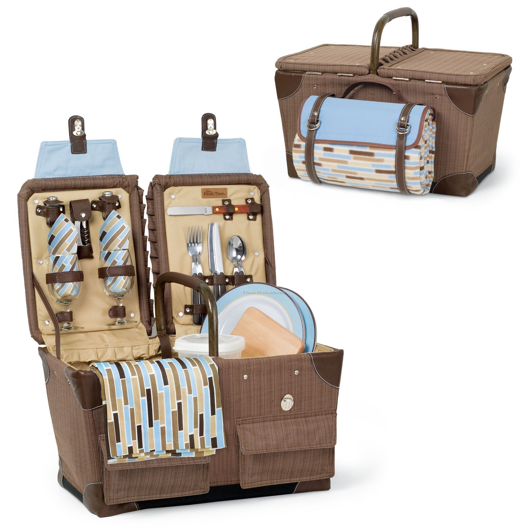 Pioneer - Driftwood Picnic Basket With Deluxe Service For 2