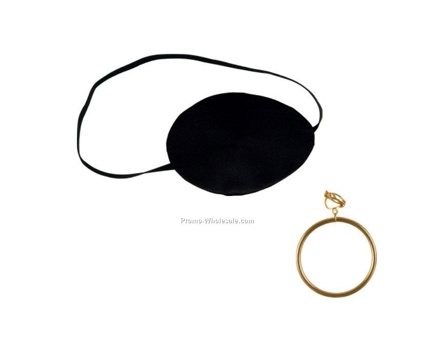 Pirate Eye Patch W/ Plastic Gold Earring