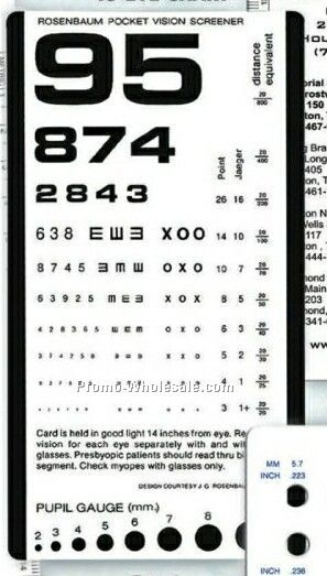 Pocket Eye Chart With Pupil Gauge