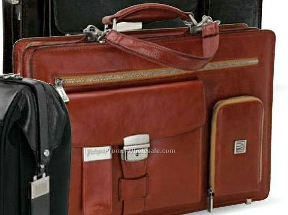 "Rimini Brown Full Grain Leather Briefcase 16-1/2""x11-1/2""x4-1/4"""
