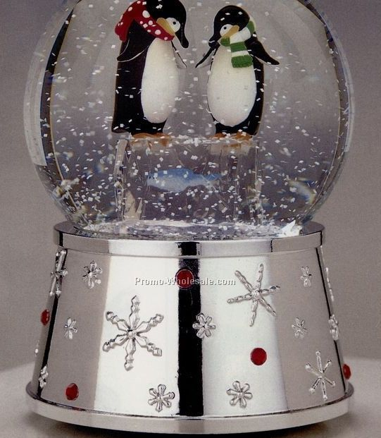 Silverplated Penguin Snow Globe